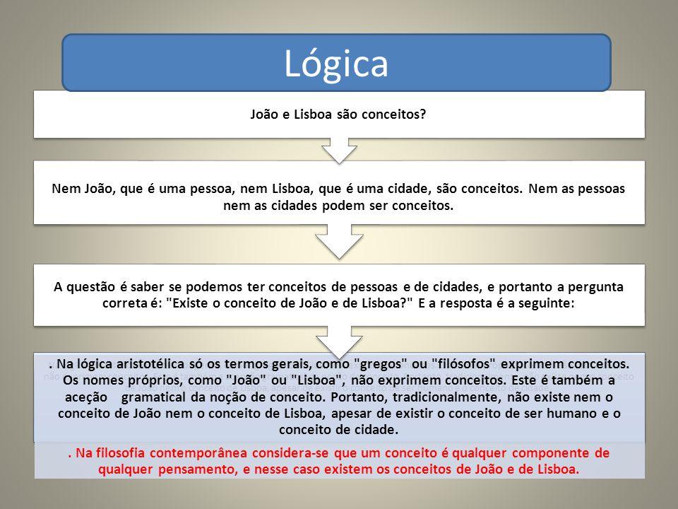 Na lógica aristotélica só os termos gerais, como gregos ou filósofos exprimem conceitos.