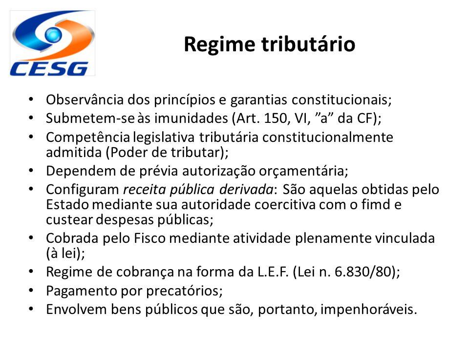 """Regime tributário Observância dos princípios e garantias constitucionais; Submetem-se às imunidades (Art. 150, VI, """"a"""" da CF); Competência legislativa"""