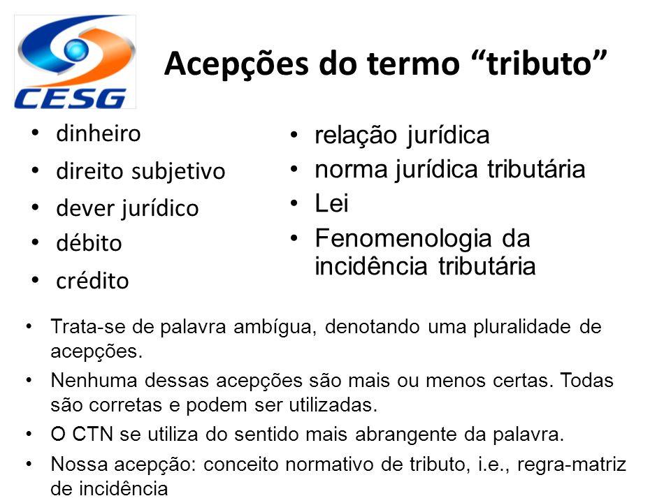 """Acepções do termo """"tributo"""" dinheiro direito subjetivo dever jurídico débito crédito relação jurídica norma jurídica tributária Lei Fenomenologia da i"""