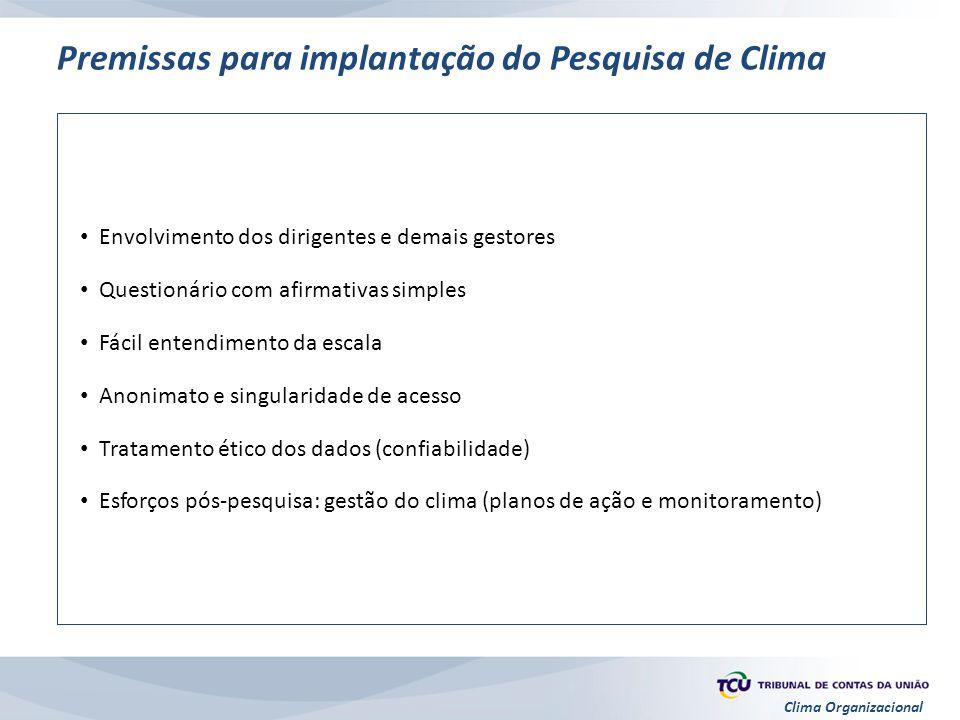 Clima Organizacional Premissas para implantação do Pesquisa de Clima Envolvimento dos dirigentes e demais gestores Questionário com afirmativas simple
