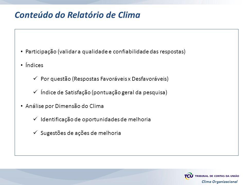 Clima Organizacional Conteúdo do Relatório de Clima Participação (validar a qualidade e confiabilidade das respostas) Índices Por questão (Respostas F