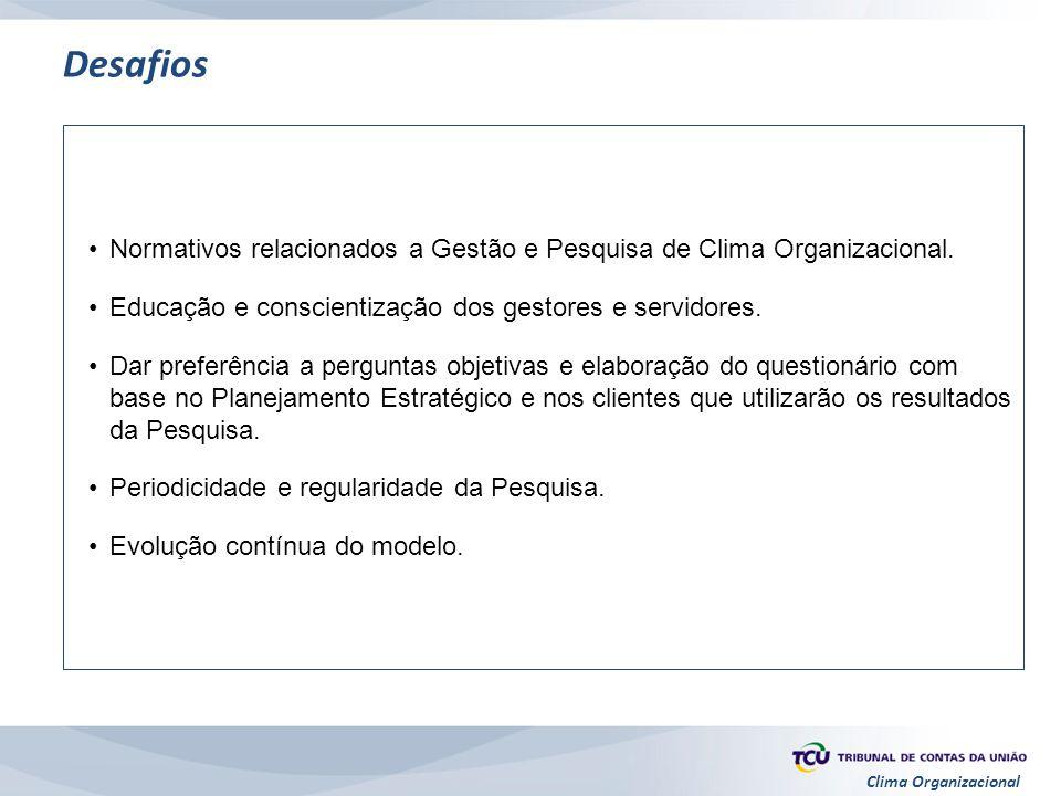 Clima Organizacional Desafios Normativos relacionados a Gestão e Pesquisa de Clima Organizacional. Educação e conscientização dos gestores e servidore