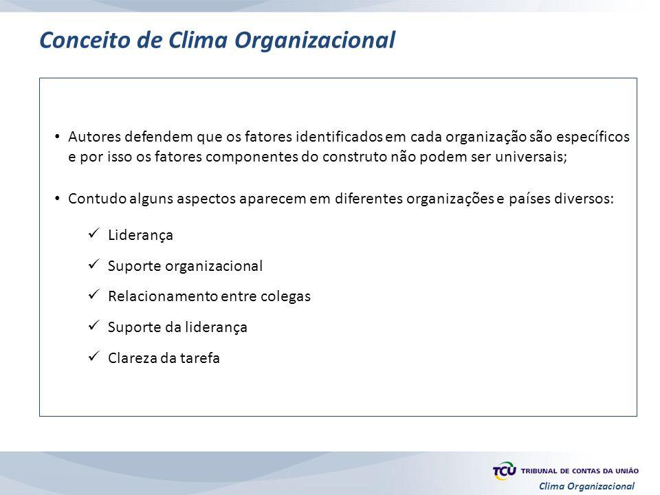 Clima Organizacional Autores defendem que os fatores identificados em cada organização são específicos e por isso os fatores componentes do construto