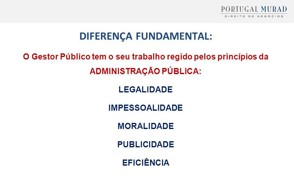 DIFERENÇA FUNDAMENTAL: O Gestor Público tem o seu trabalho regido pelos princípios da ADMINISTRAÇÃO PÚBLICA: LEGALIDADE IMPESSOALIDADE MORALIDADE PUBL