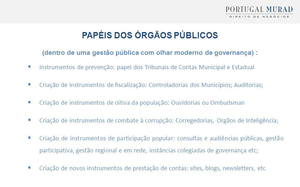 PAPÉIS DOS ÓRGÃOS PÚBLICOS (dentro de uma gestão pública com olhar moderno de governança) :  Instrumentos de prevenção: papel dos Tribunais de Contas