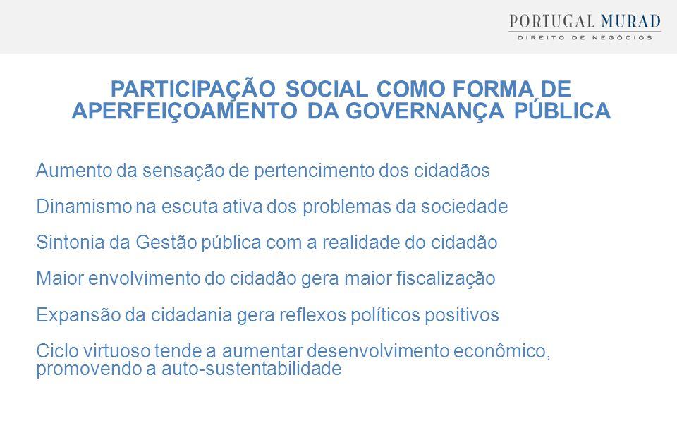 PARTICIPAÇÃO SOCIAL COMO FORMA DE APERFEIÇOAMENTO DA GOVERNANÇA PÚBLICA Aumento da sensação de pertencimento dos cidadãos Dinamismo na escuta ativa do