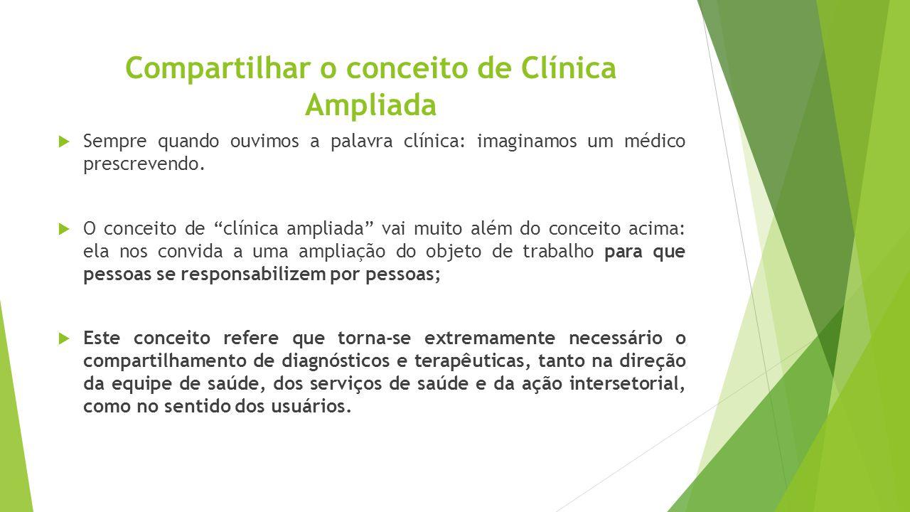 """Compartilhar o conceito de Clínica Ampliada  Sempre quando ouvimos a palavra clínica: imaginamos um médico prescrevendo.  O conceito de """"clínica amp"""