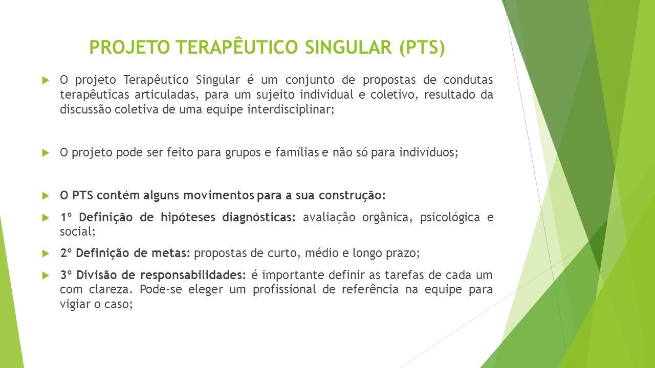 PROJETO TERAPÊUTICO SINGULAR (PTS)  O projeto Terapêutico Singular é um conjunto de propostas de condutas terapêuticas articuladas, para um sujeito i