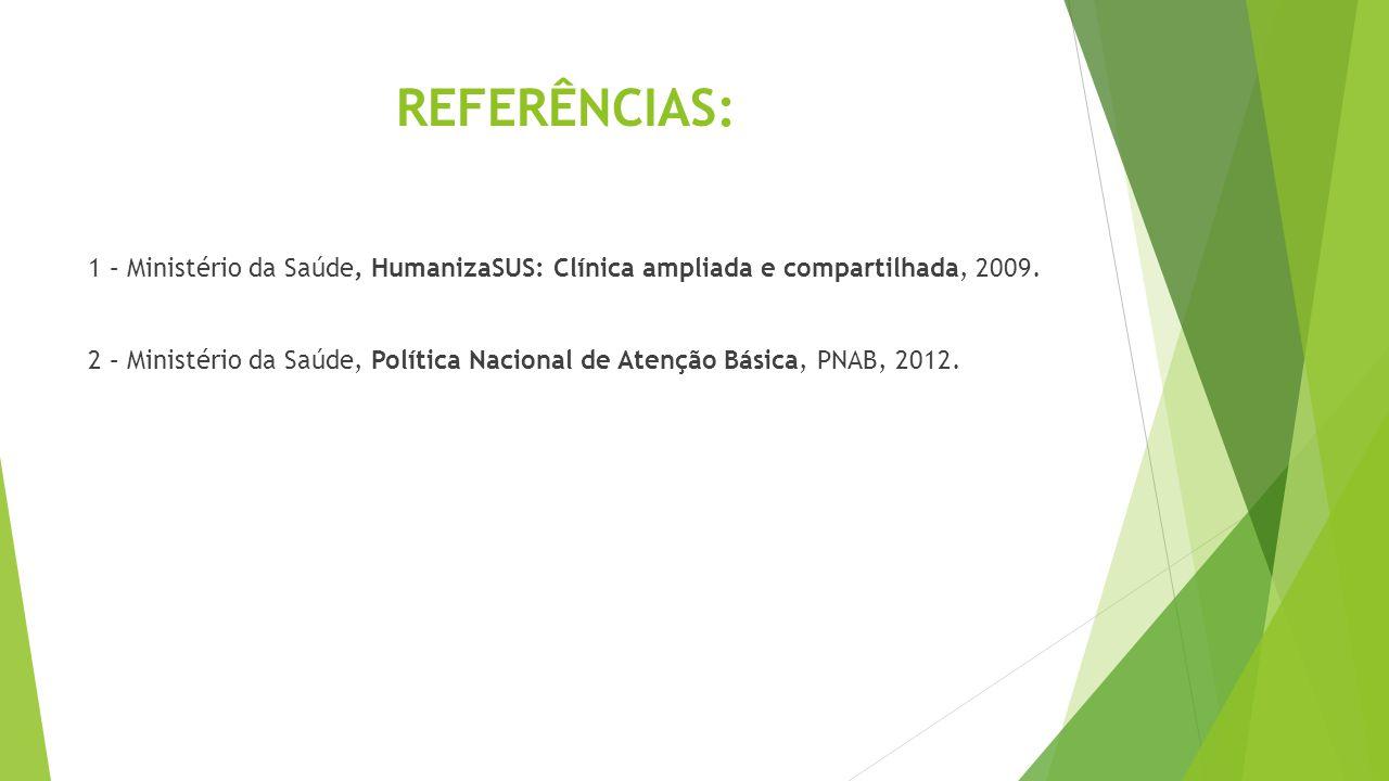 REFERÊNCIAS: 1 – Ministério da Saúde, HumanizaSUS: Clínica ampliada e compartilhada, 2009. 2 – Ministério da Saúde, Política Nacional de Atenção Básic