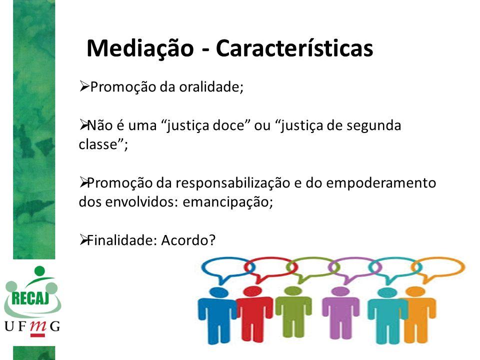 """Mediação - Características  Promoção da oralidade;  Não é uma """"justiça doce"""" ou """"justiça de segunda classe"""";  Promoção da responsabilização e do em"""