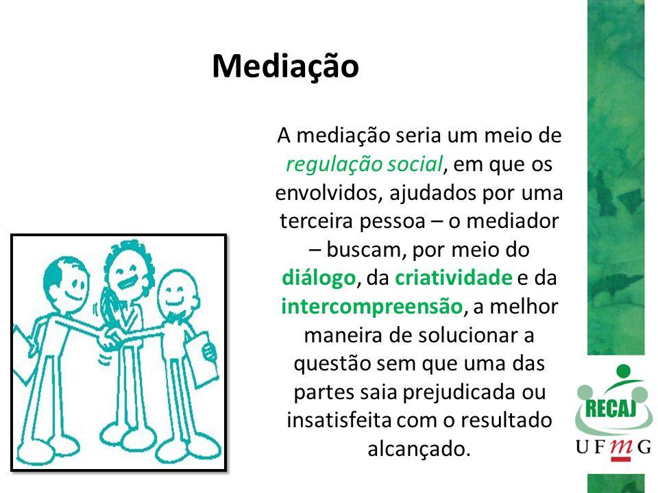 Mediação A mediação seria um meio de regulação social, em que os envolvidos, ajudados por uma terceira pessoa – o mediador – buscam, por meio do diálo