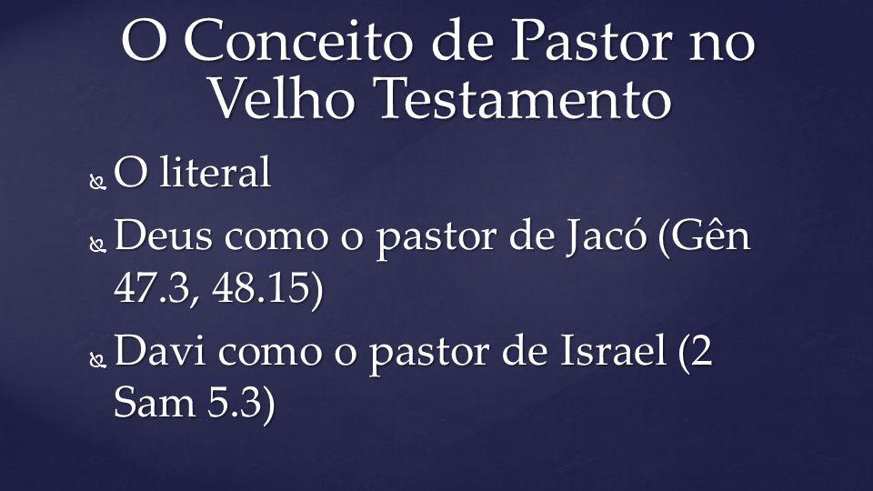  O literal  Deus como o pastor de Jacó (Gên 47.3, 48.15)  Davi como o pastor de Israel (2 Sam 5.3) O Conceito de Pastor no Velho Testamento