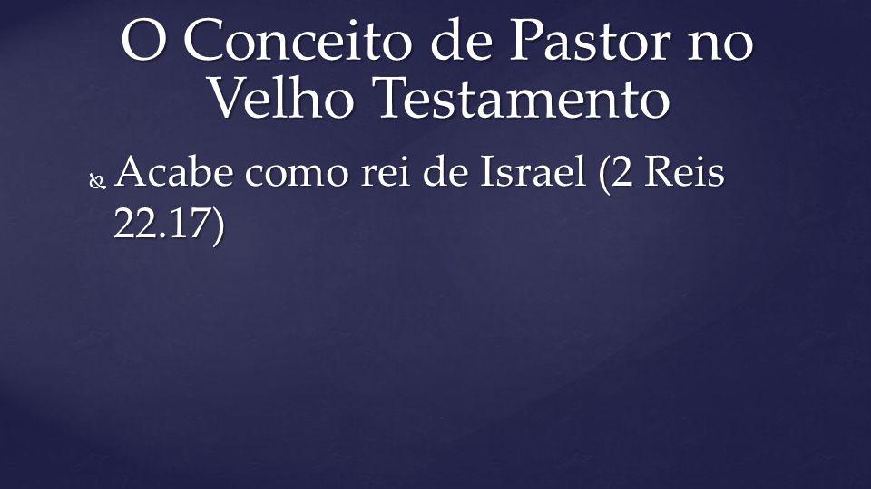  Acabe como rei de Israel (2 Reis 22.17) O Conceito de Pastor no Velho Testamento