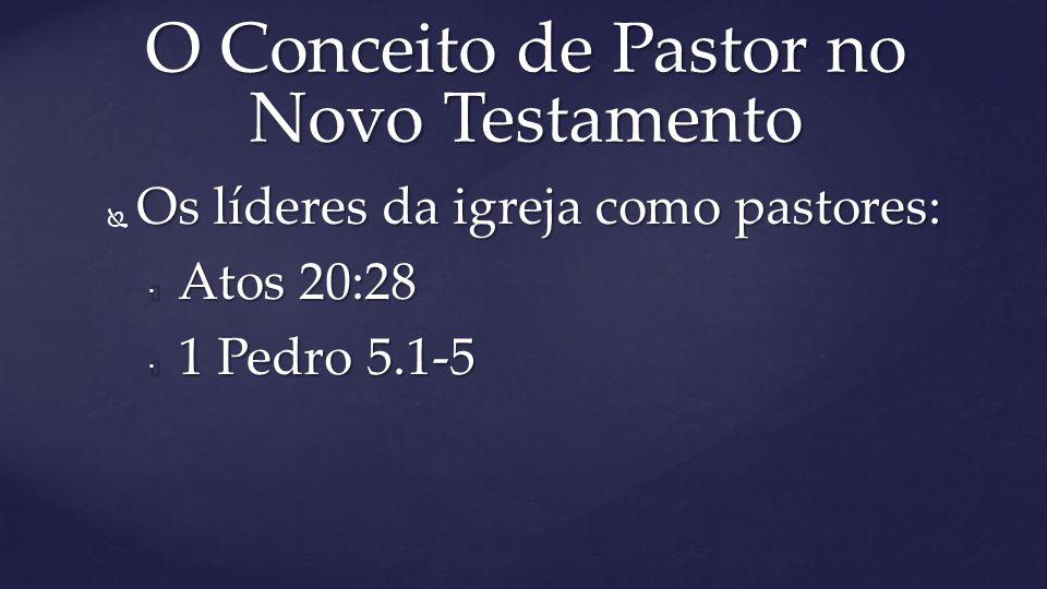  Os líderes da igreja como pastores:  Atos 20:28  Atos 20:28  1 Pedro 5.1-5 O Conceito de Pastor no Novo Testamento