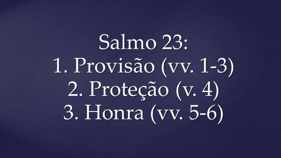 Salmo 23: 1. Provisão (vv. 1-3) 2. Proteção (v. 4) 3. Honra (vv. 5-6)
