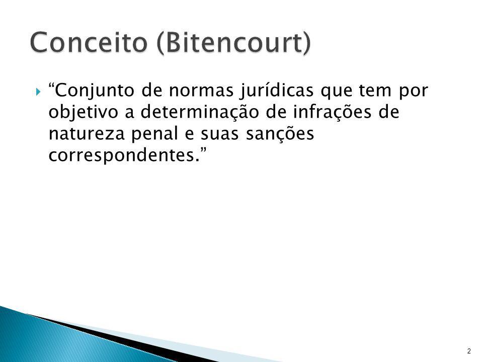  Conjunto de normas jurídicas que tem por objetivo a determinação de infrações de natureza penal e suas sanções correspondentes. 2