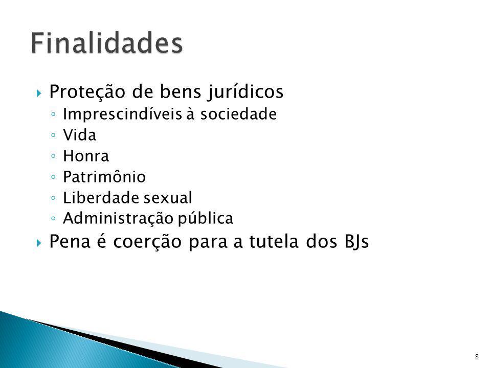  Proteção de bens jurídicos ◦ Imprescindíveis à sociedade ◦ Vida ◦ Honra ◦ Patrimônio ◦ Liberdade sexual ◦ Administração pública  Pena é coerção para a tutela dos BJs 8
