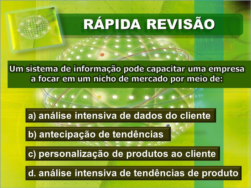 RÁPIDA REVISÃO a) análise intensiva de dados do cliente b) antecipação de tendências c) personalização de produtos ao cliente d.