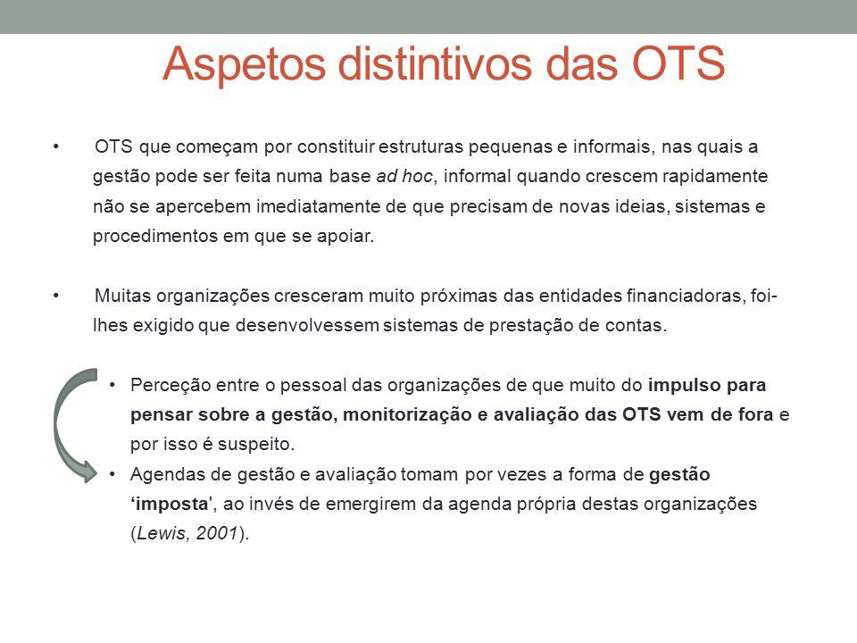 OTS que começam por constituir estruturas pequenas e informais, nas quais a gestão pode ser feita numa base ad hoc, informal quando crescem rapidament
