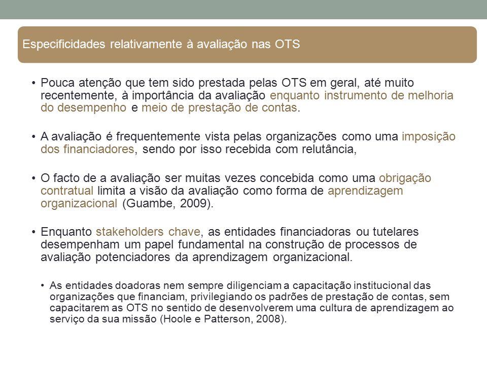 Especificidades relativamente à avaliação nas OTS Pouca atenção que tem sido prestada pelas OTS em geral, até muito recentemente, à importância da ava