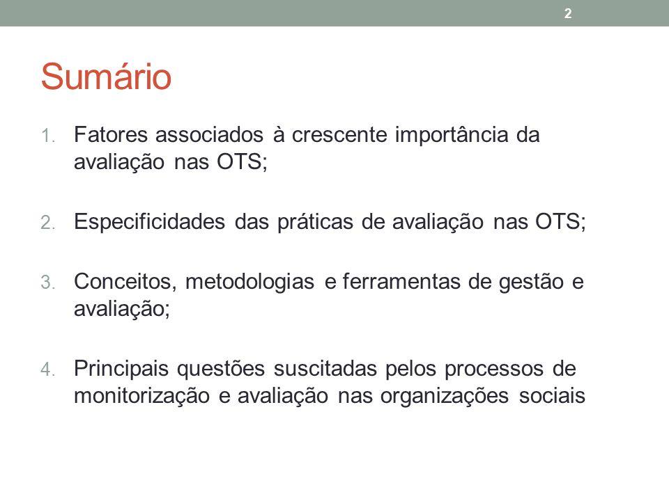 Sumário 1. Fatores associados à crescente importância da avaliação nas OTS; 2. Especificidades das práticas de avaliação nas OTS; 3. Conceitos, metodo