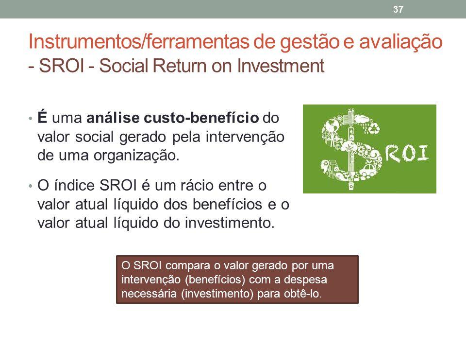 Instrumentos/ferramentas de gestão e avaliação - SROI - Social Return on Investment 37 É uma análise custo-benefício do valor social gerado pela inter