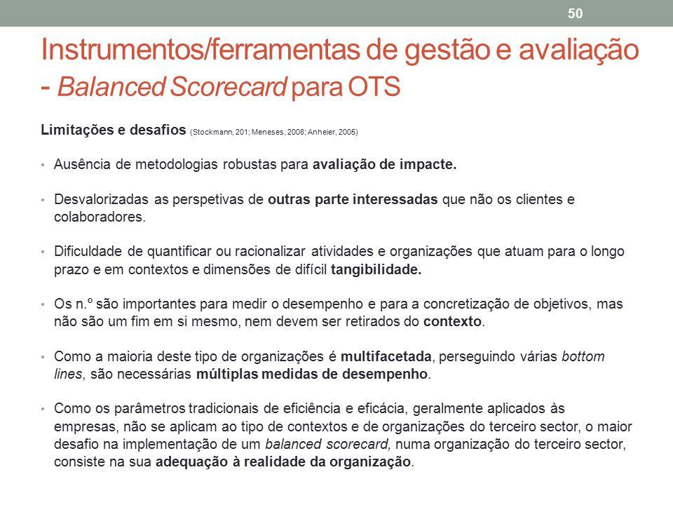 Instrumentos/ferramentas de gestão e avaliação - Balanced Scorecard para OTS 50 Limitações e desafios (Stockmann, 201; Meneses, 2008; Anheier, 2005) A