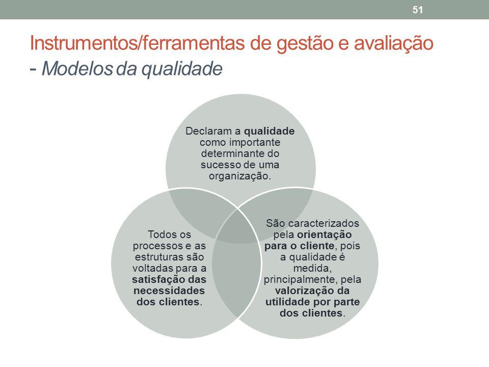 Instrumentos/ferramentas de gestão e avaliação - Modelos da qualidade 51 Declaram a qualidade como importante determinante do sucesso de uma organizaç