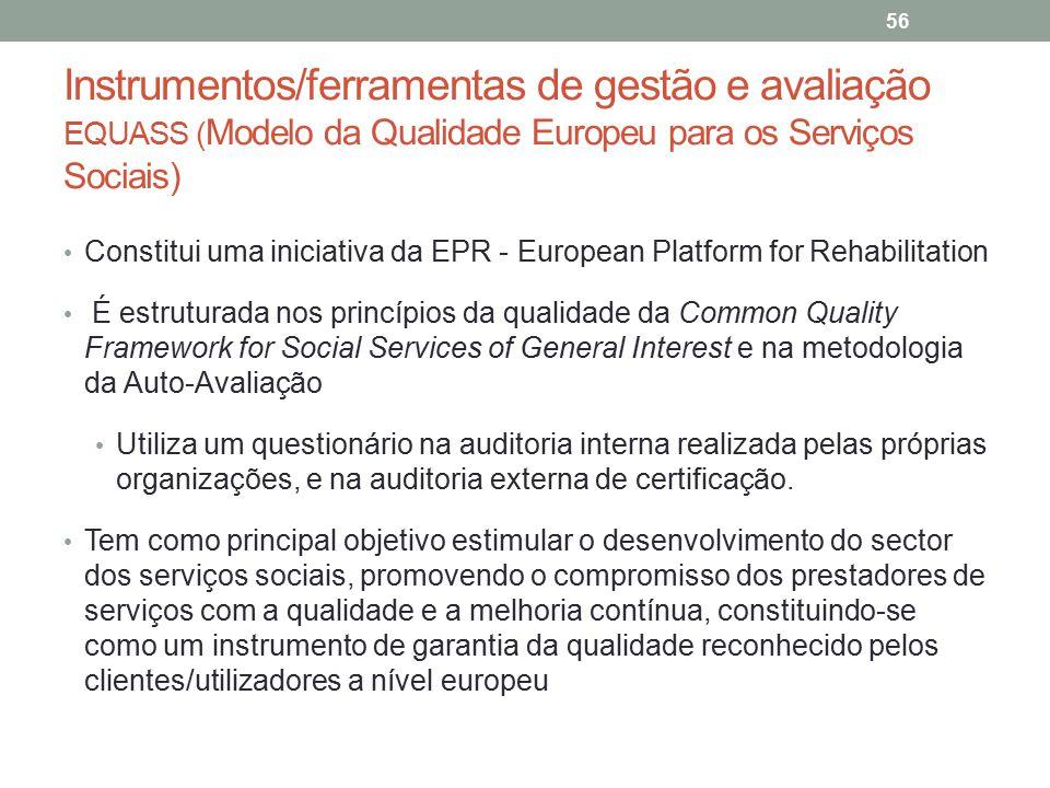 Instrumentos/ferramentas de gestão e avaliação EQUASS ( Modelo da Qualidade Europeu para os Serviços Sociais) 56 Constitui uma iniciativa da EPR - Eur