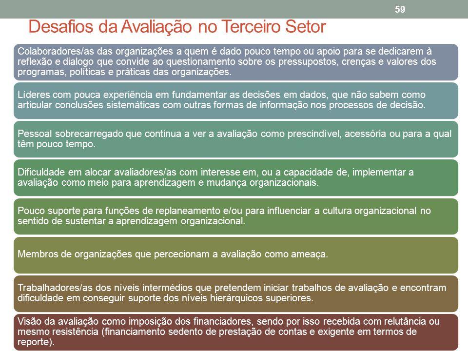 Desafios da Avaliação no Terceiro Setor 59 Colaboradores/as das organizações a quem é dado pouco tempo ou apoio para se dedicarem à reflexão e dialogo