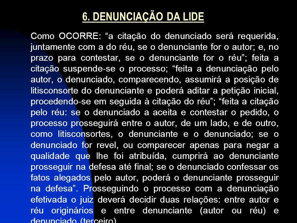 """6. DENUNCIAÇÃO DA LIDE Como OCORRE: """"a citação do denunciado será requerida, juntamente com a do réu, se o denunciante for o autor; e, no prazo para c"""