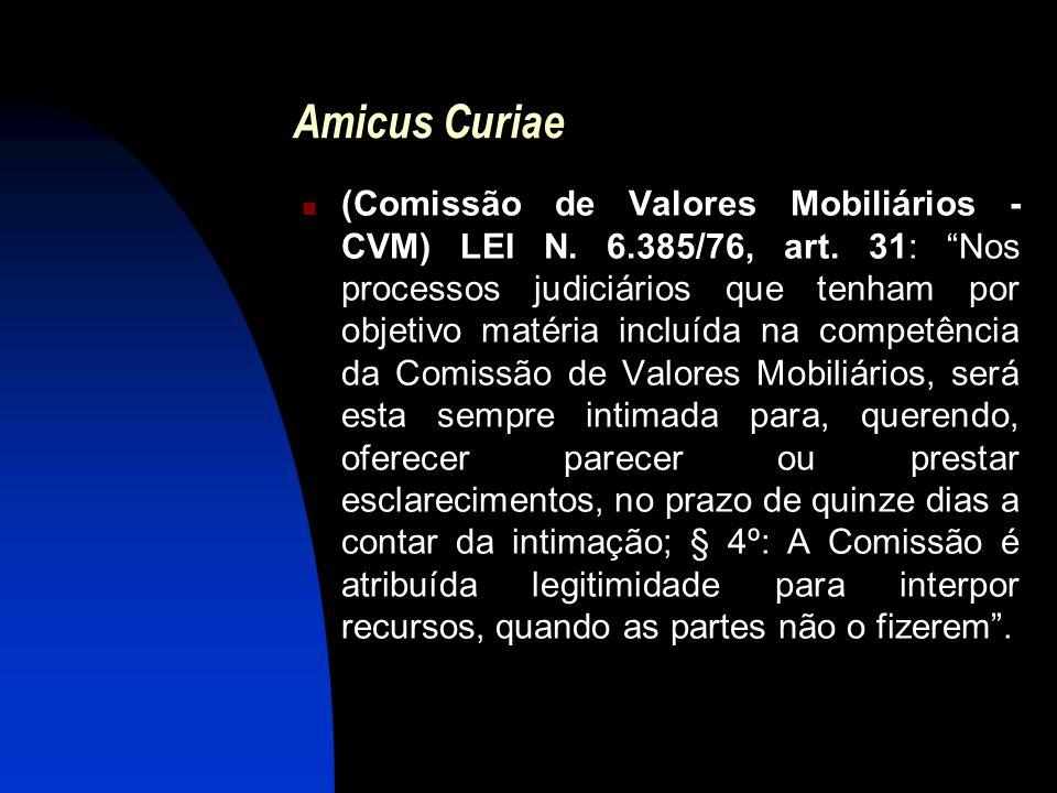 """Amicus Curiae (Comissão de Valores Mobiliários - CVM) LEI N. 6.385/76, art. 31: """"Nos processos judiciários que tenham por objetivo matéria incluída na"""
