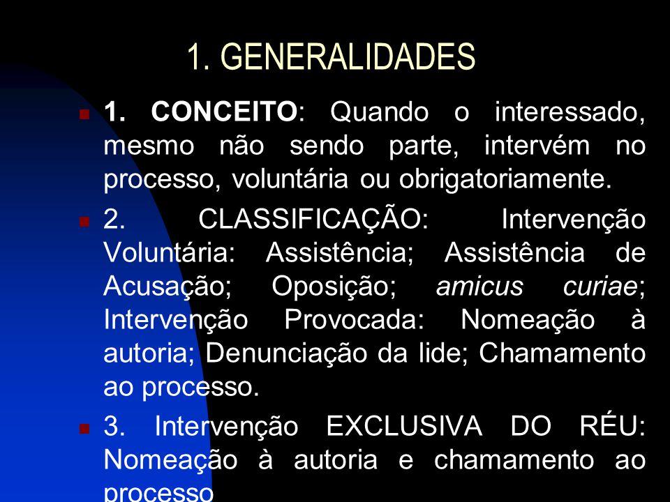 1. GENERALIDADES 1. CONCEITO: Quando o interessado, mesmo não sendo parte, intervém no processo, voluntária ou obrigatoriamente. 2. CLASSIFICAÇÃO: Int