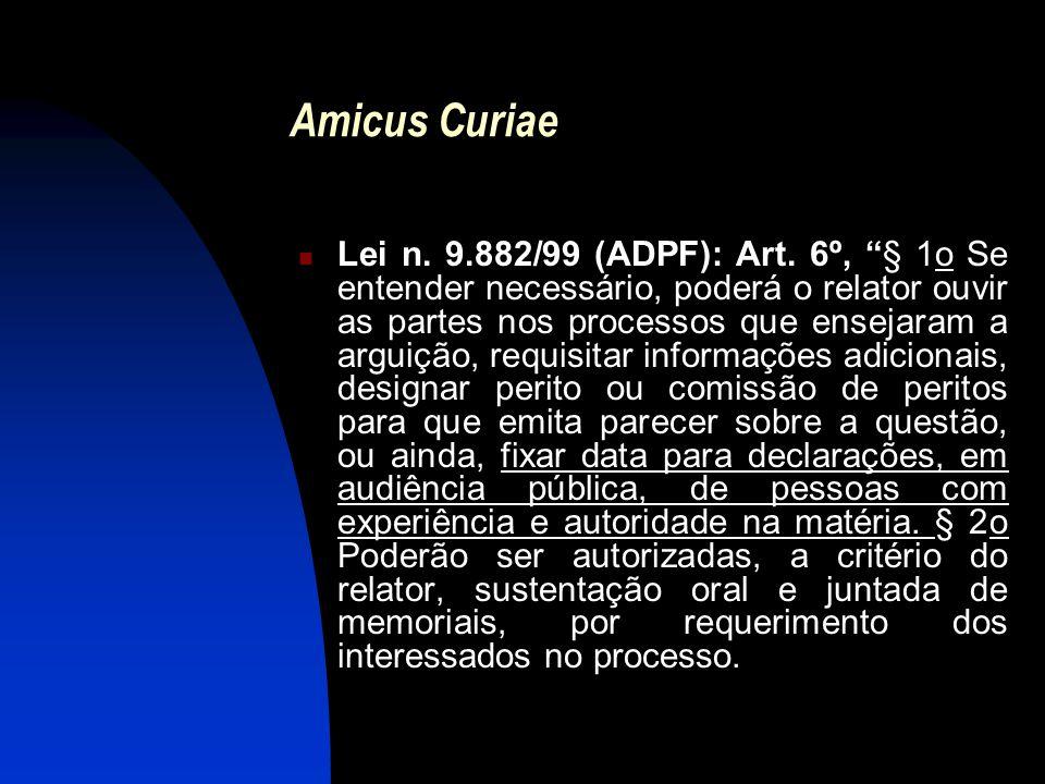 """Amicus Curiae Lei n. 9.882/99 (ADPF): Art. 6º, """"§ 1o Se entender necessário, poderá o relator ouvir as partes nos processos que ensejaram a arguição,"""