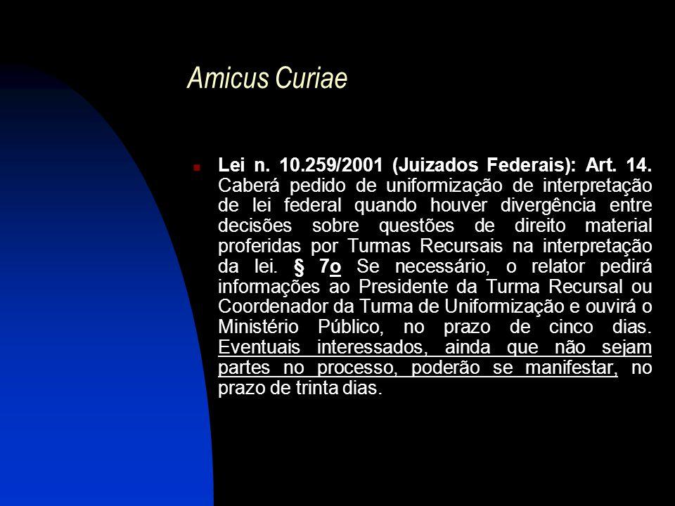 Amicus Curiae Lei n. 10.259/2001 (Juizados Federais): Art. 14. Caberá pedido de uniformização de interpretação de lei federal quando houver divergênci