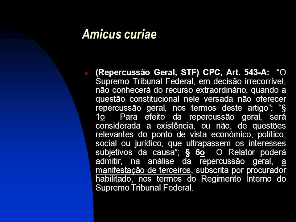 """Amicus curiae (Repercussão Geral, STF) CPC, Art. 543-A: """"O Supremo Tribunal Federal, em decisão irrecorrível, não conhecerá do recurso extraordinário,"""