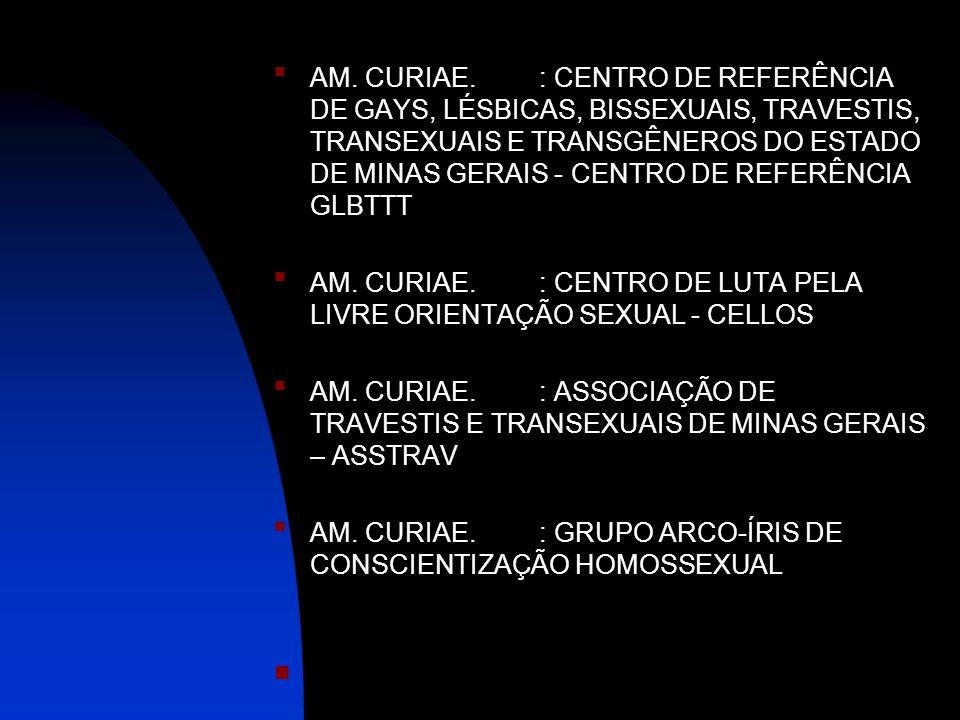 AM. CURIAE. : CENTRO DE REFERÊNCIA DE GAYS, LÉSBICAS, BISSEXUAIS, TRAVESTIS, TRANSEXUAIS E TRANSGÊNEROS DO ESTADO DE MINAS GERAIS - CENTRO DE REFERÊNC