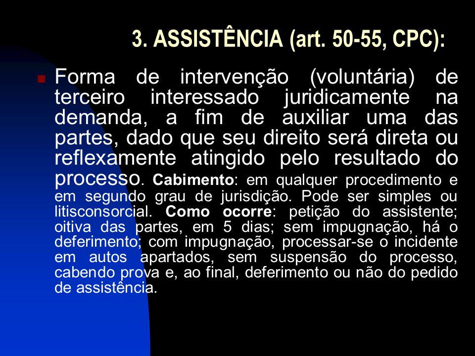 3. ASSISTÊNCIA (art. 50-55, CPC): Forma de intervenção (voluntária) de terceiro interessado juridicamente na demanda, a fim de auxiliar uma das partes