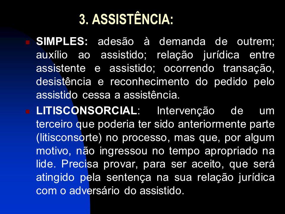 3. ASSISTÊNCIA: SIMPLES: adesão à demanda de outrem; auxílio ao assistido; relação jurídica entre assistente e assistido; ocorrendo transação, desistê