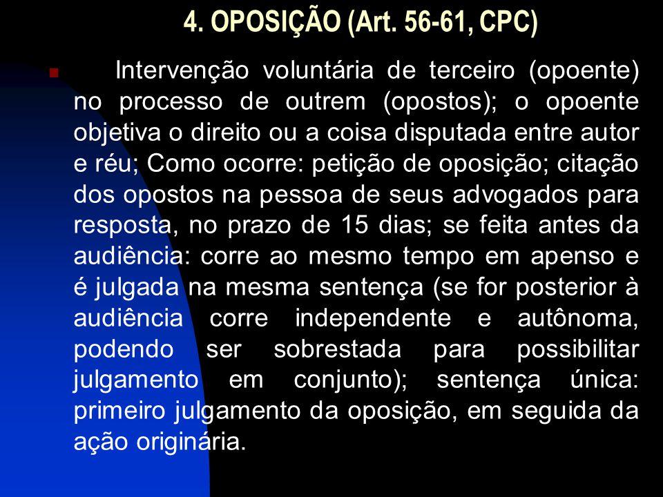 4. OPOSIÇÃO (Art. 56-61, CPC) Intervenção voluntária de terceiro (opoente) no processo de outrem (opostos); o opoente objetiva o direito ou a coisa di