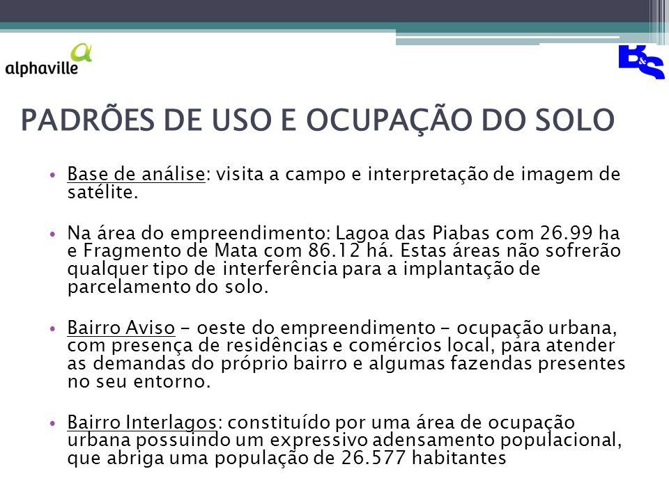 PADRÕES DE USO E OCUPAÇÃO DO SOLO Base de análise: visita a campo e interpretação de imagem de satélite.