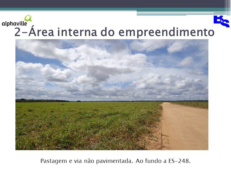 2-Área interna do empreendimento Pastagem e via não pavimentada. Ao fundo a ES-248.