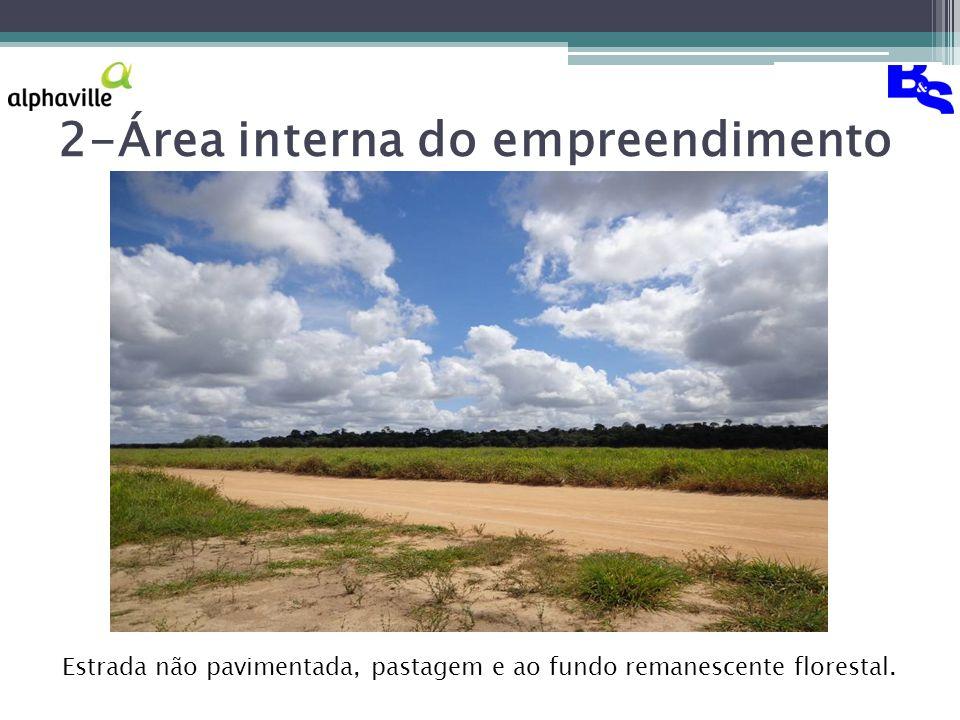2-Área interna do empreendimento Estrada não pavimentada, pastagem e ao fundo remanescente florestal.