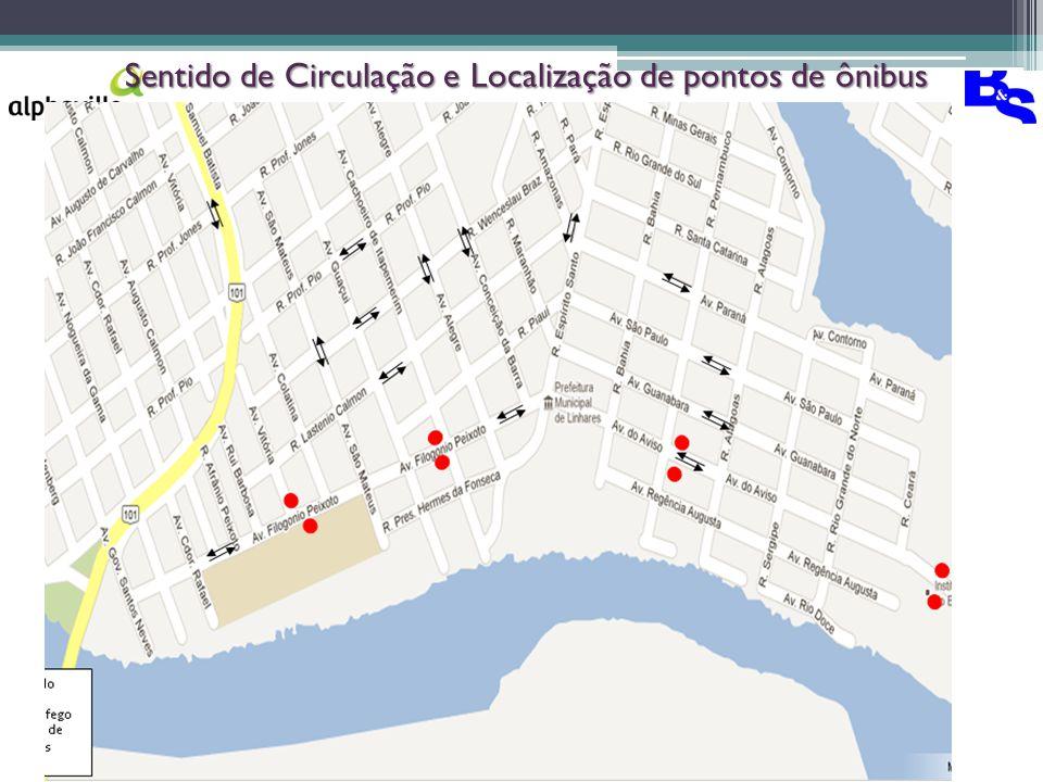 Sentido de Circulação e Localização de pontos de ônibus