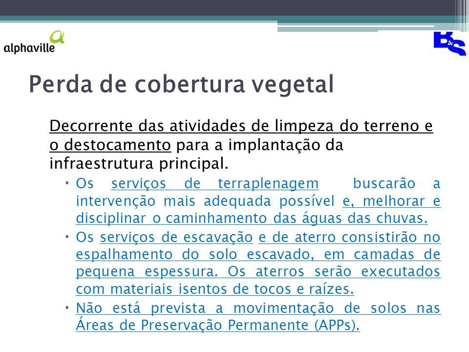 Perda de cobertura vegetal Decorrente das atividades de limpeza do terreno e o destocamento para a implantação da infraestrutura principal.