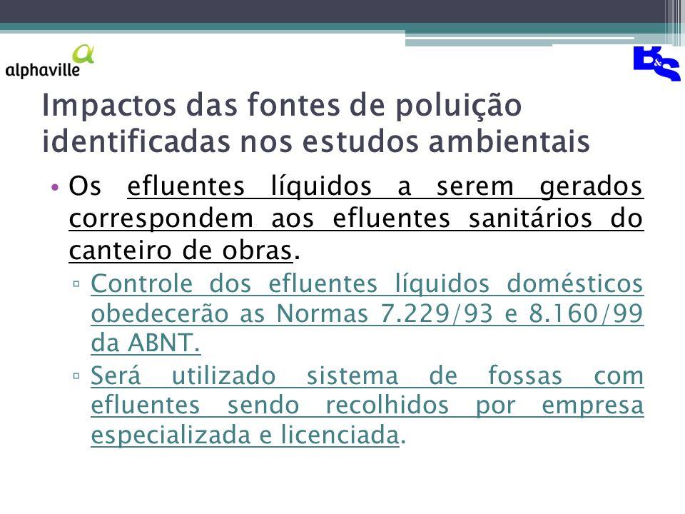 Impactos das fontes de poluição identificadas nos estudos ambientais Os efluentes líquidos a serem gerados correspondem aos efluentes sanitários do canteiro de obras.