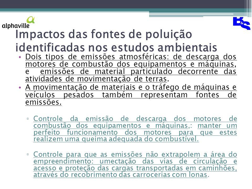 Impactos das fontes de poluição identificadas nos estudos ambientais Dois tipos de emissões atmosféricas: de descarga dos motores de combustão dos equipamentos e máquinas, e emissões de material particulado decorrente das atividades de movimentação de terras.