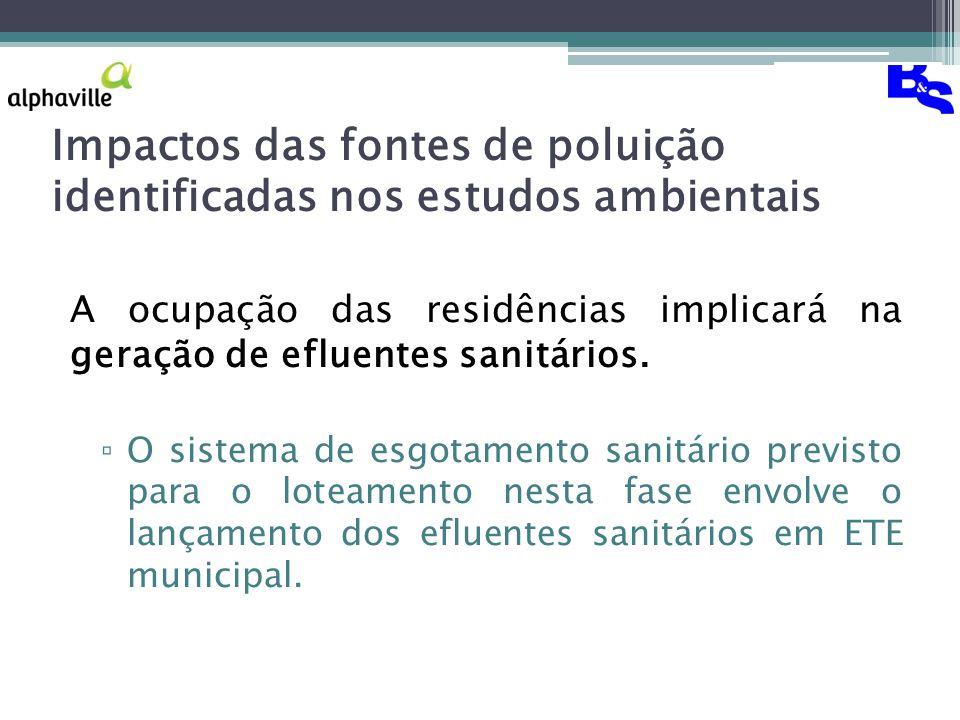 Impactos das fontes de poluição identificadas nos estudos ambientais A ocupação das residências implicará na geração de efluentes sanitários.