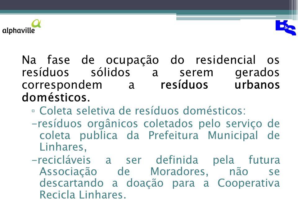 Na fase de ocupação do residencial os resíduos sólidos a serem gerados correspondem a resíduos urbanos domésticos.