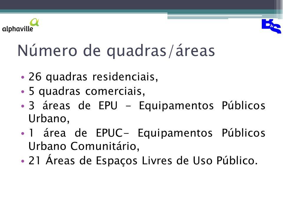 Número de quadras/áreas 26 quadras residenciais, 5 quadras comerciais, 3 áreas de EPU - Equipamentos Públicos Urbano, 1 área de EPUC- Equipamentos Públicos Urbano Comunitário, 21 Áreas de Espaços Livres de Uso Público.